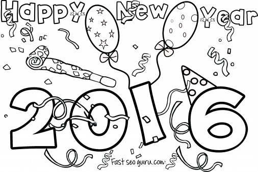 happy new year 2016 coloring pages for kids printable coloring