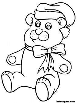 printable coloring pages of christmas toys bear printable coloring