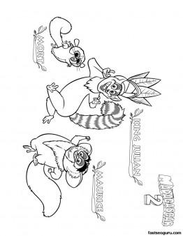 Printable Madagascar 3 King Julian Maurice And Mort