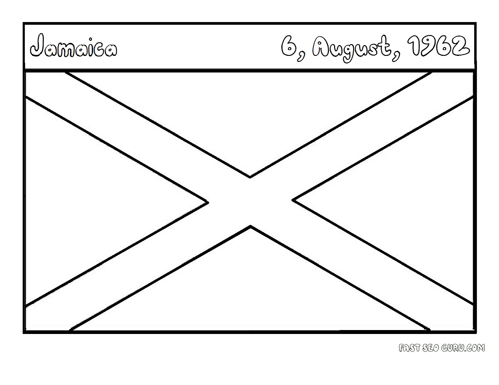 Flags Of Jamaica Coloring Page For Kids