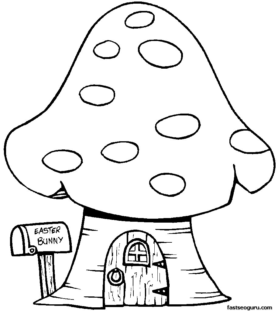 easter bunny mushrooms house for kids
