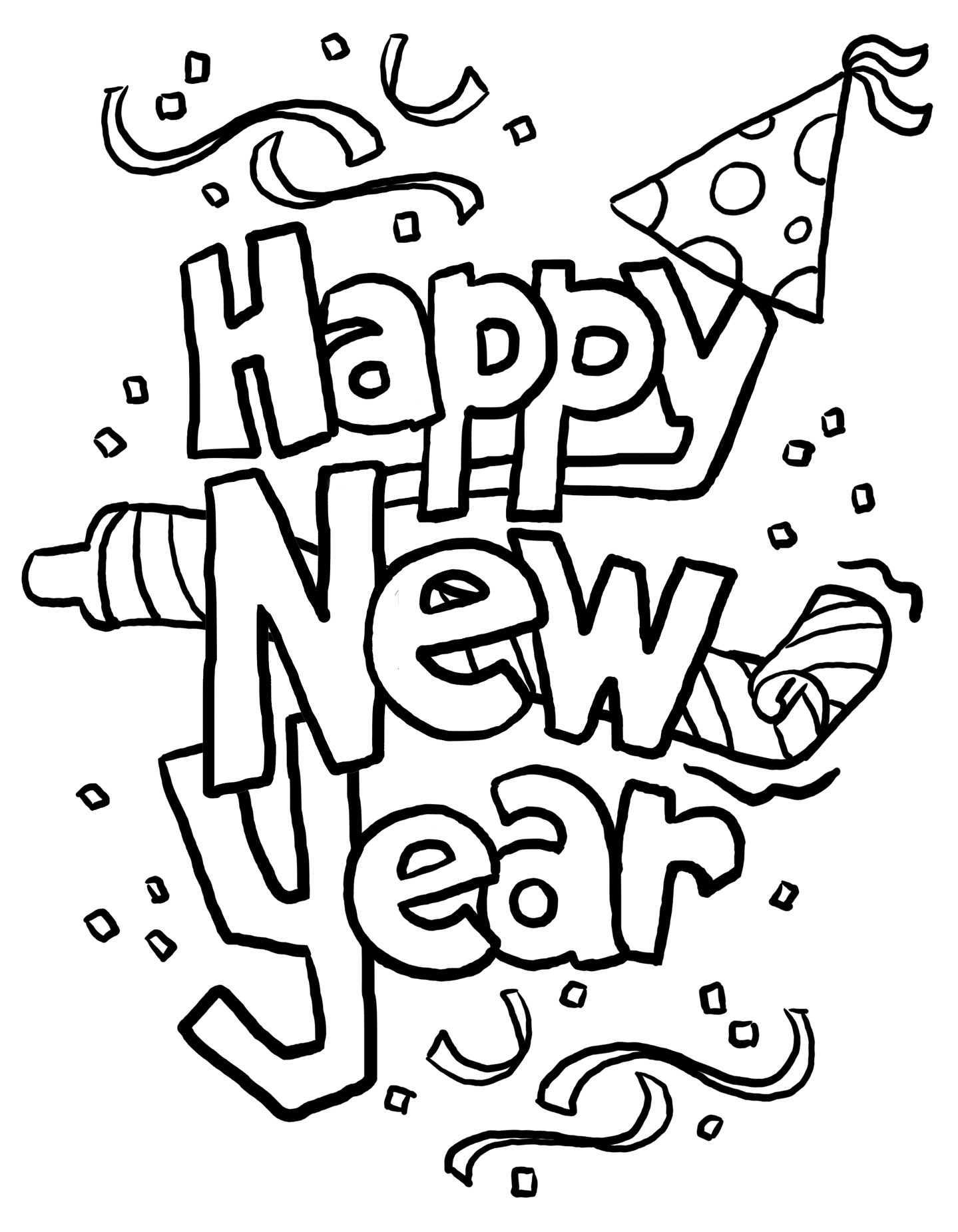 Print Out Happy New Year Clipart Coloring In Sheets