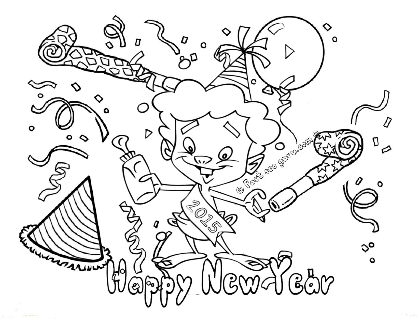 Print Out Happy New Year Coloring Pages