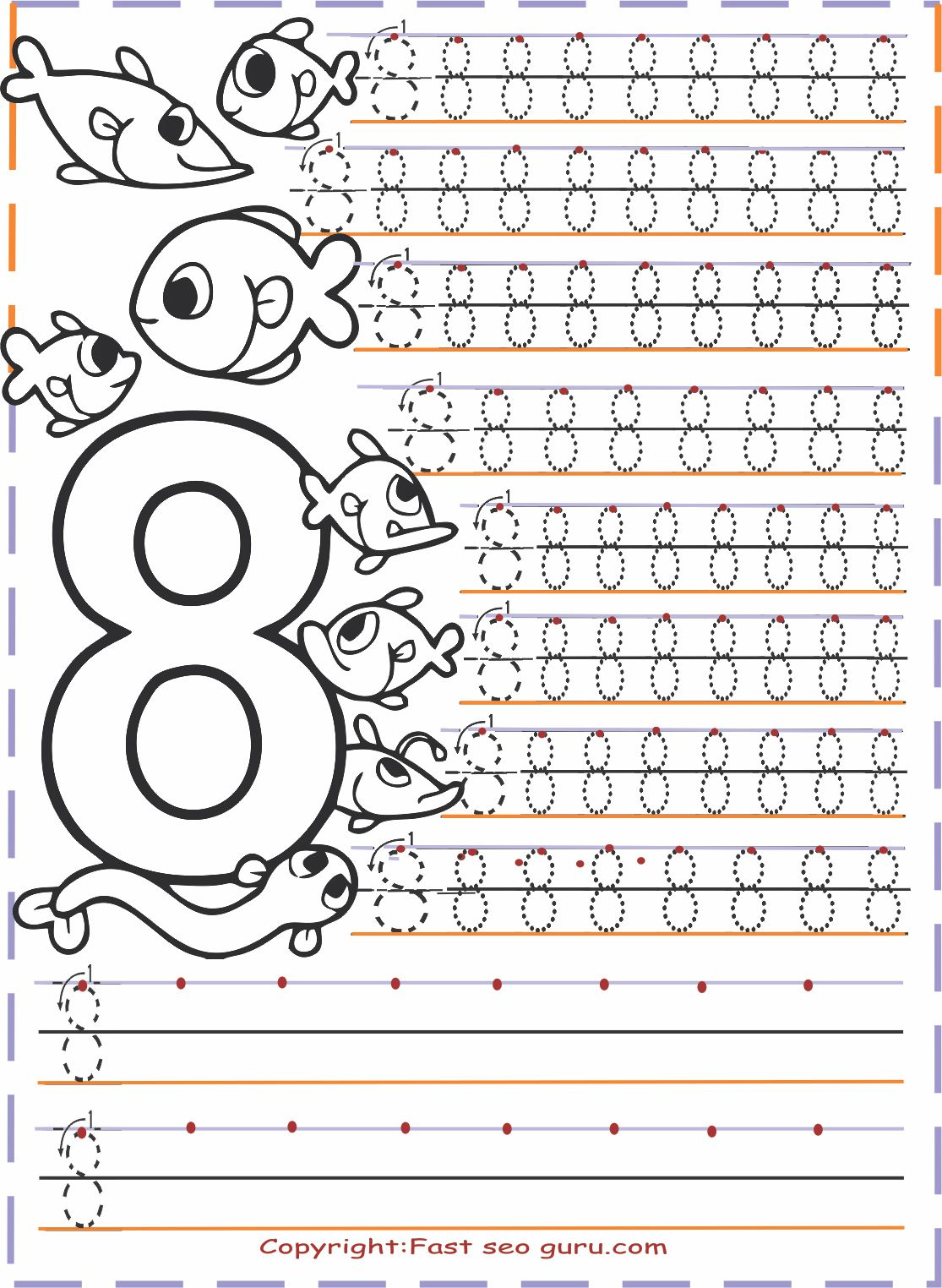 Kindergarten Number 8 Tracing Worksheets