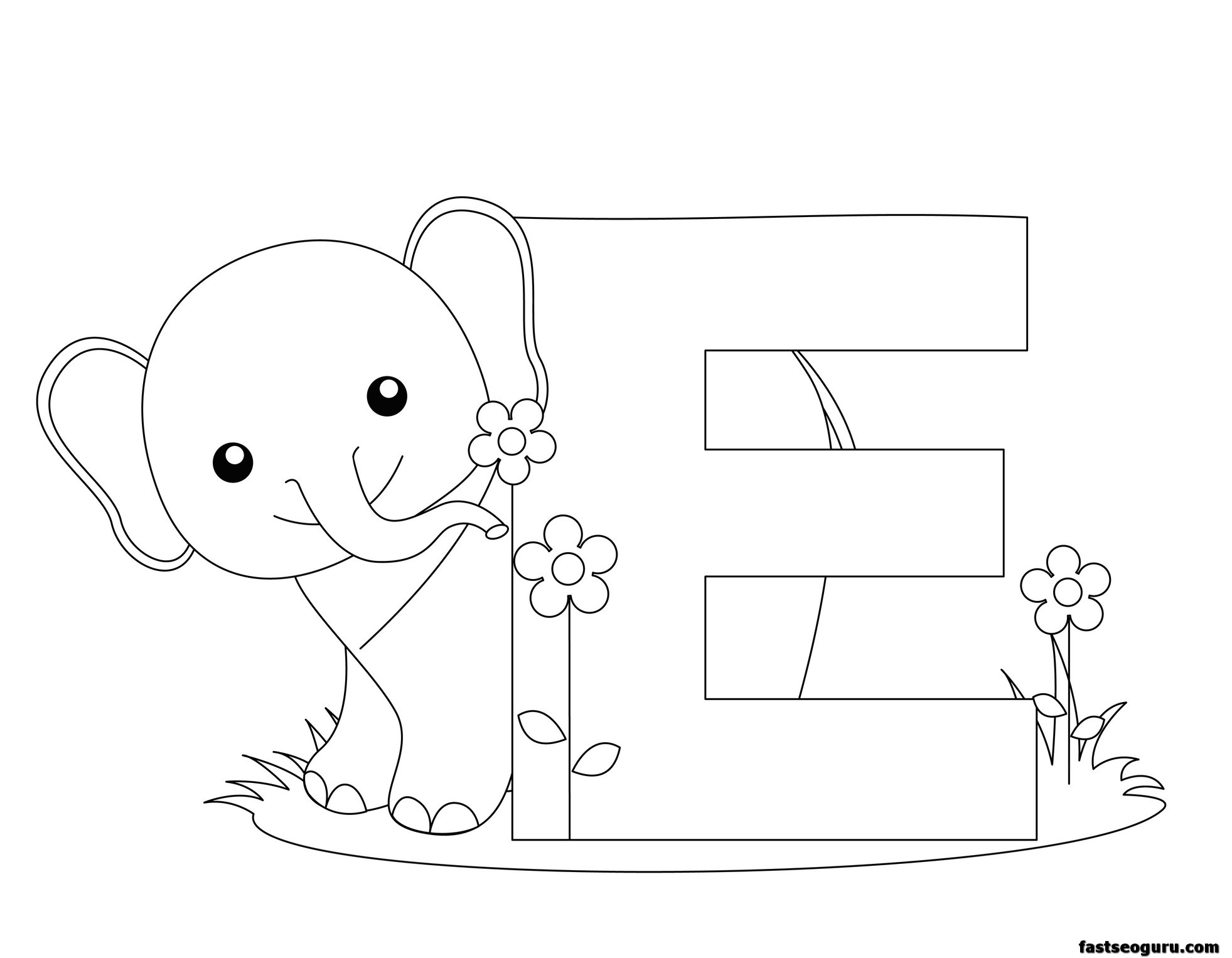 Printable Animal Alphabet Letter E For Elephant