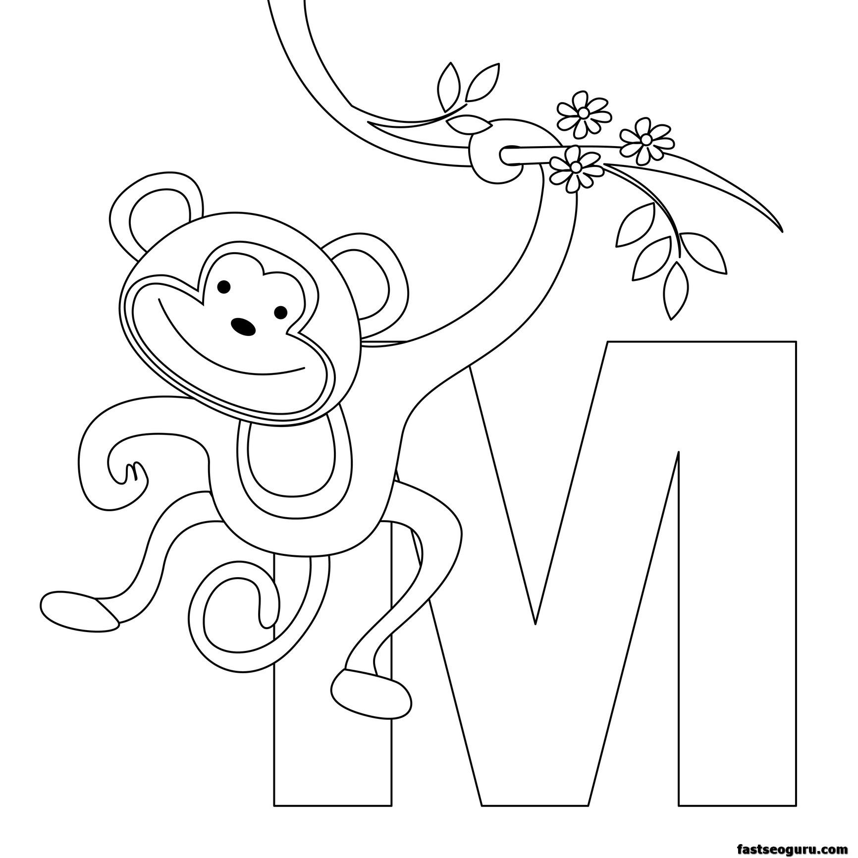 Printable Animal Alphabet Worksheets Letter M For Monkey