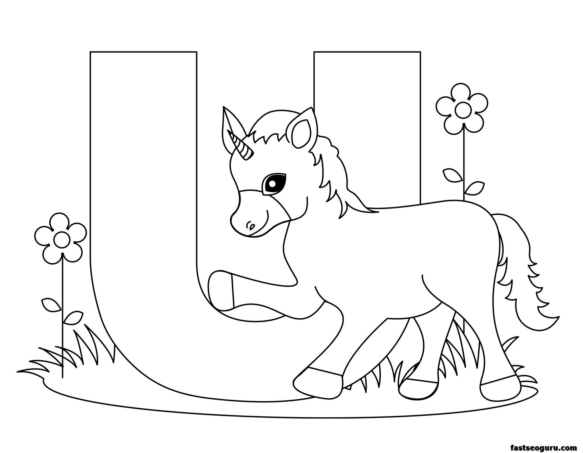 Printable Animal Alphabet Worksheets Letter U Is For