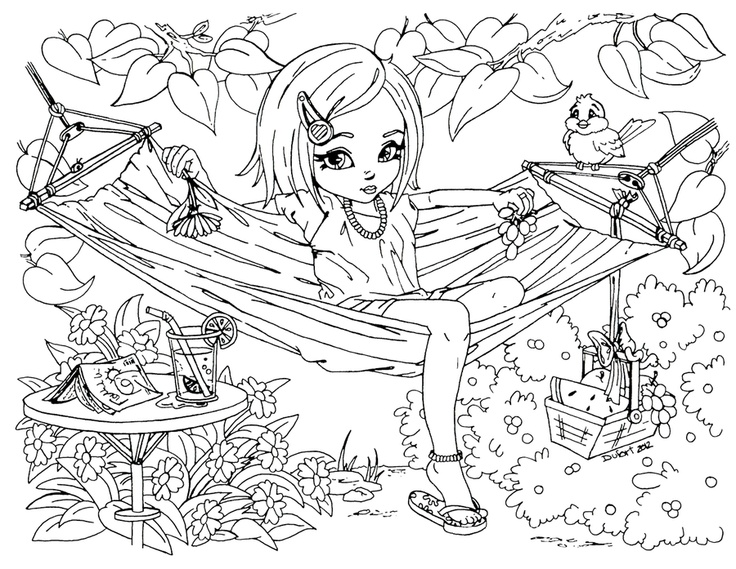 girl enjoy on hammock coloring pages printable coloring pages for