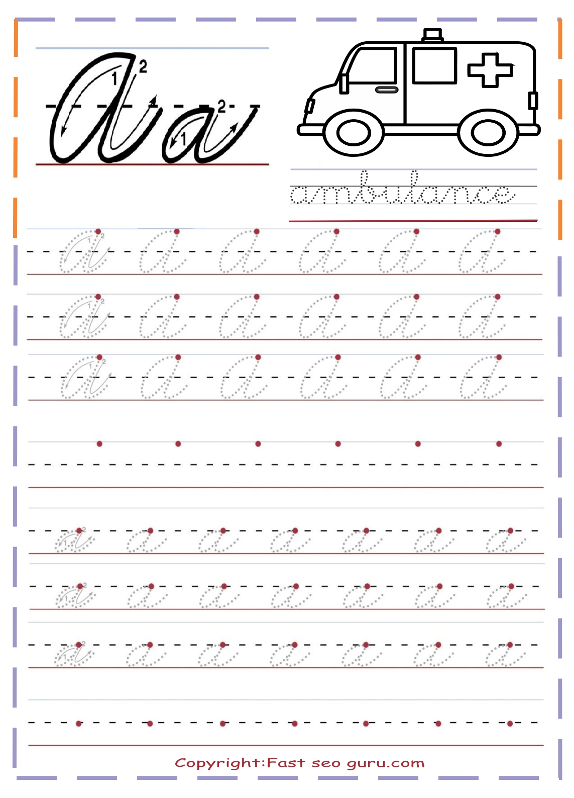 Abc Cursive Writing Worksheet