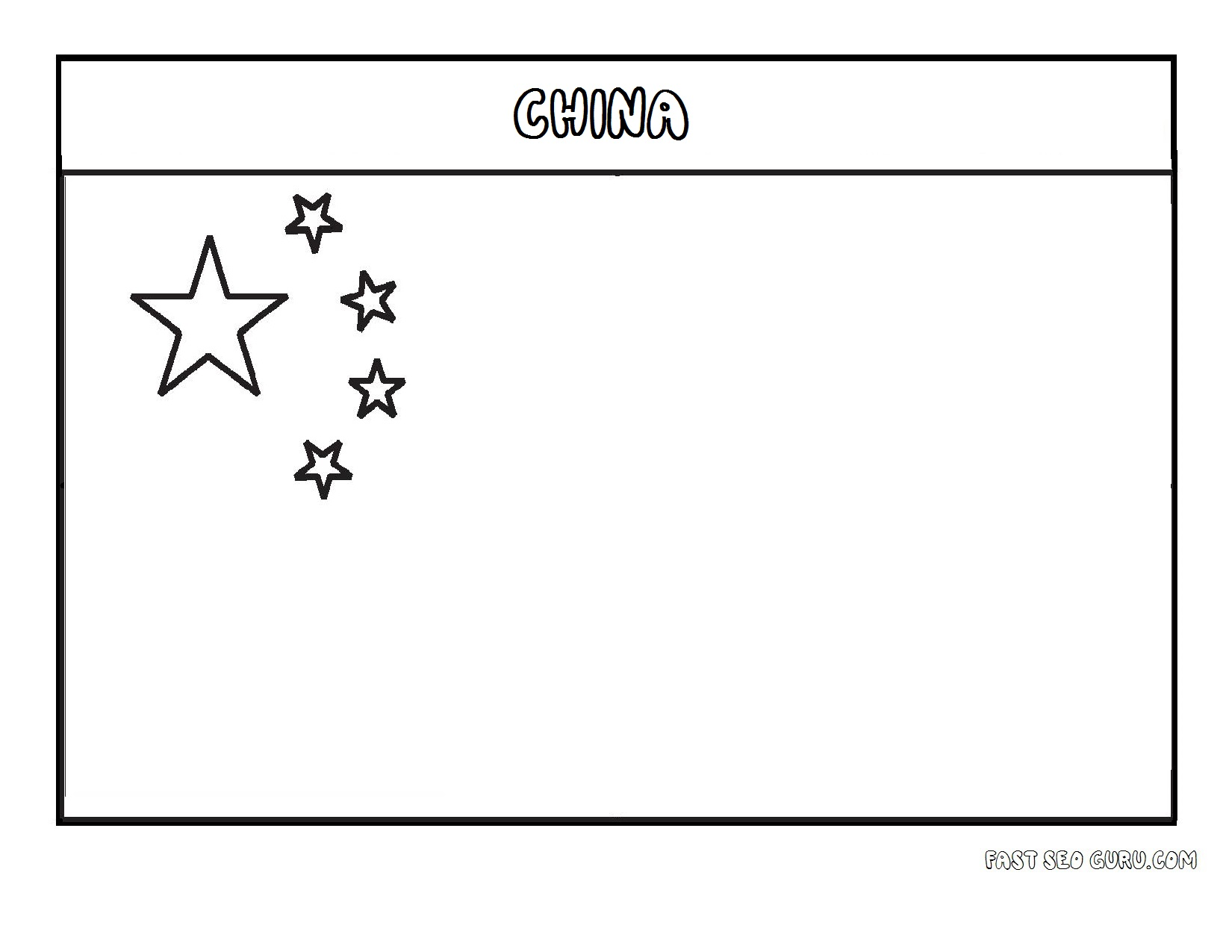Printable Flag Of China Coloring Page