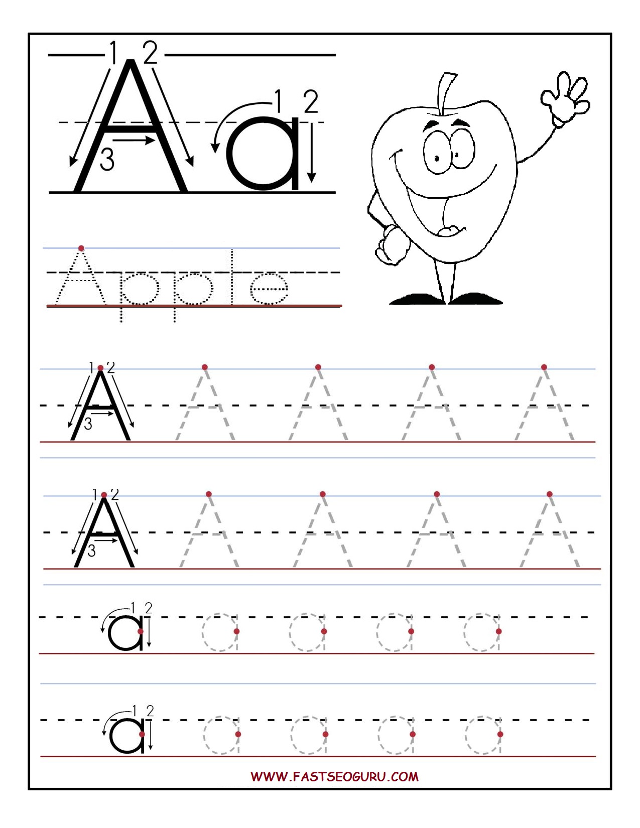 Free Printable Letter A Tracing Worksheets