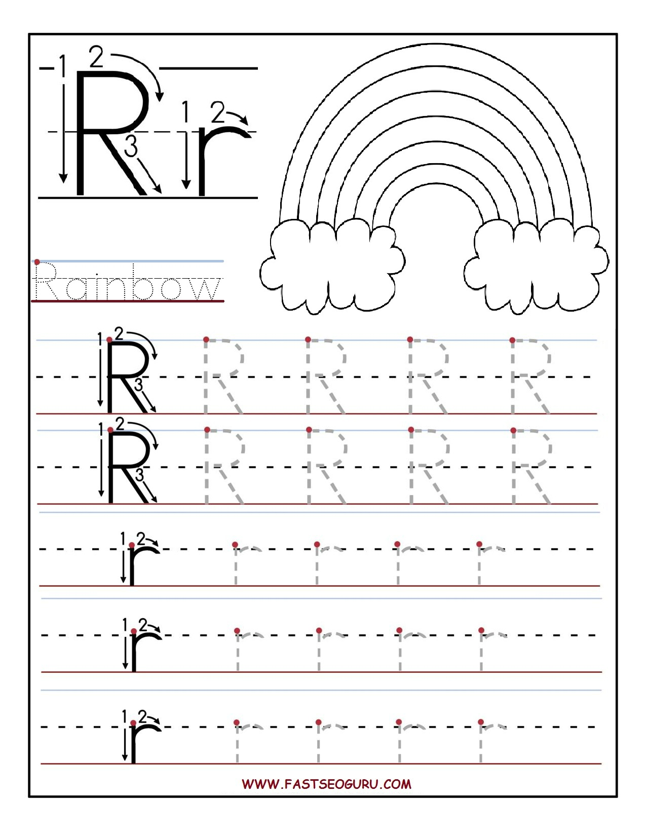 Printable Letter R Tracing Worksheets For Preschool