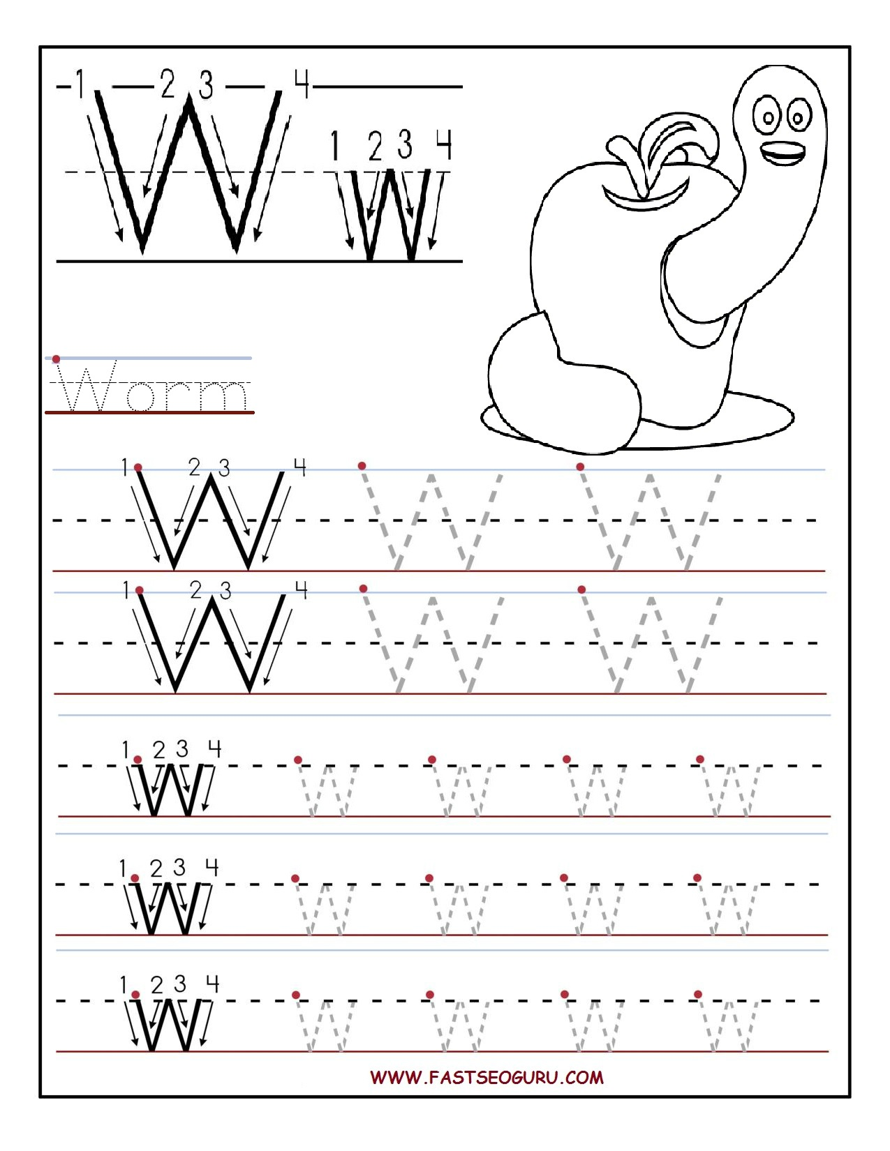 Kindergarten Abc Tracing Worksheet