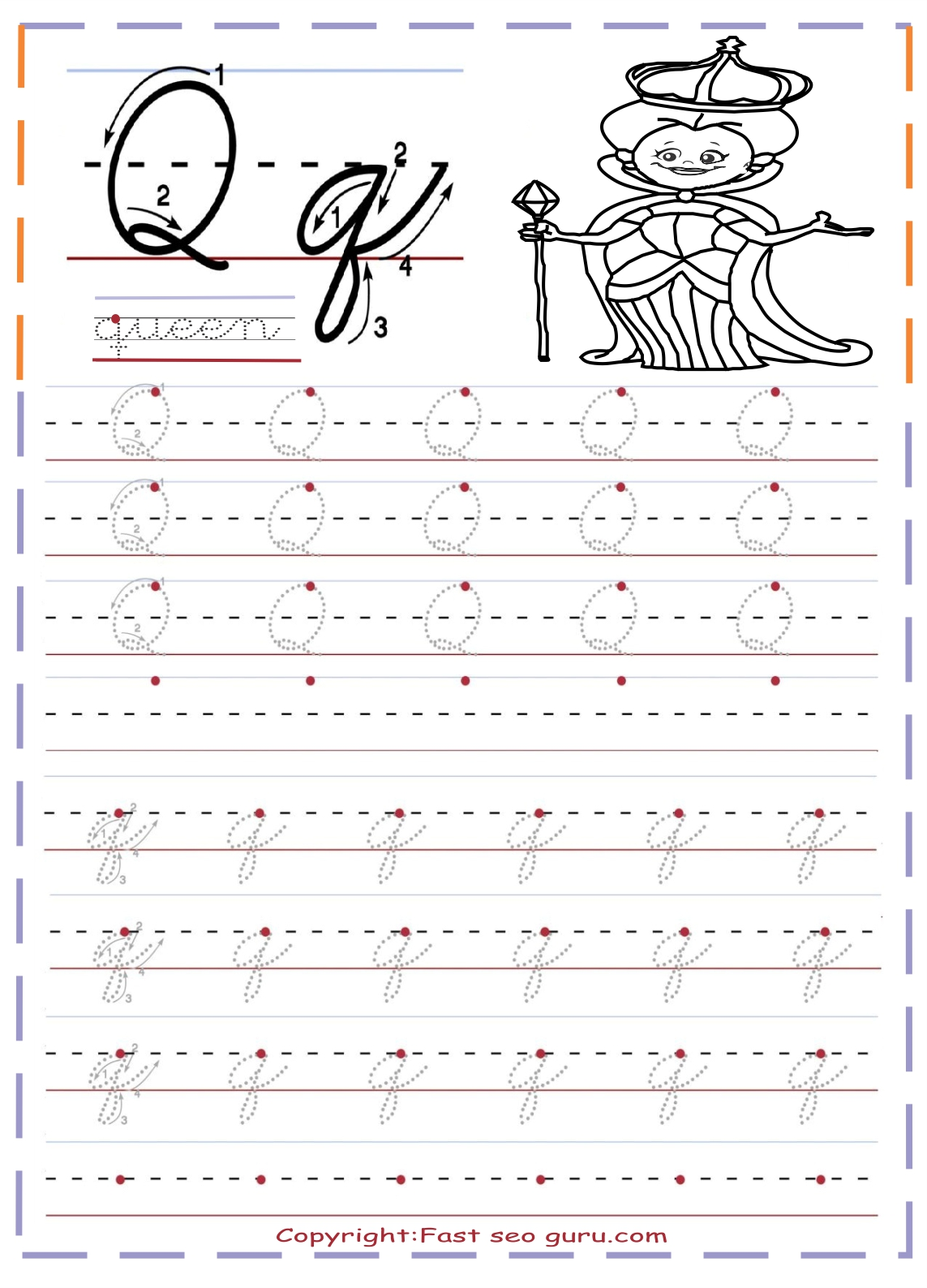 Lowercase Q Handwriting Worksheet
