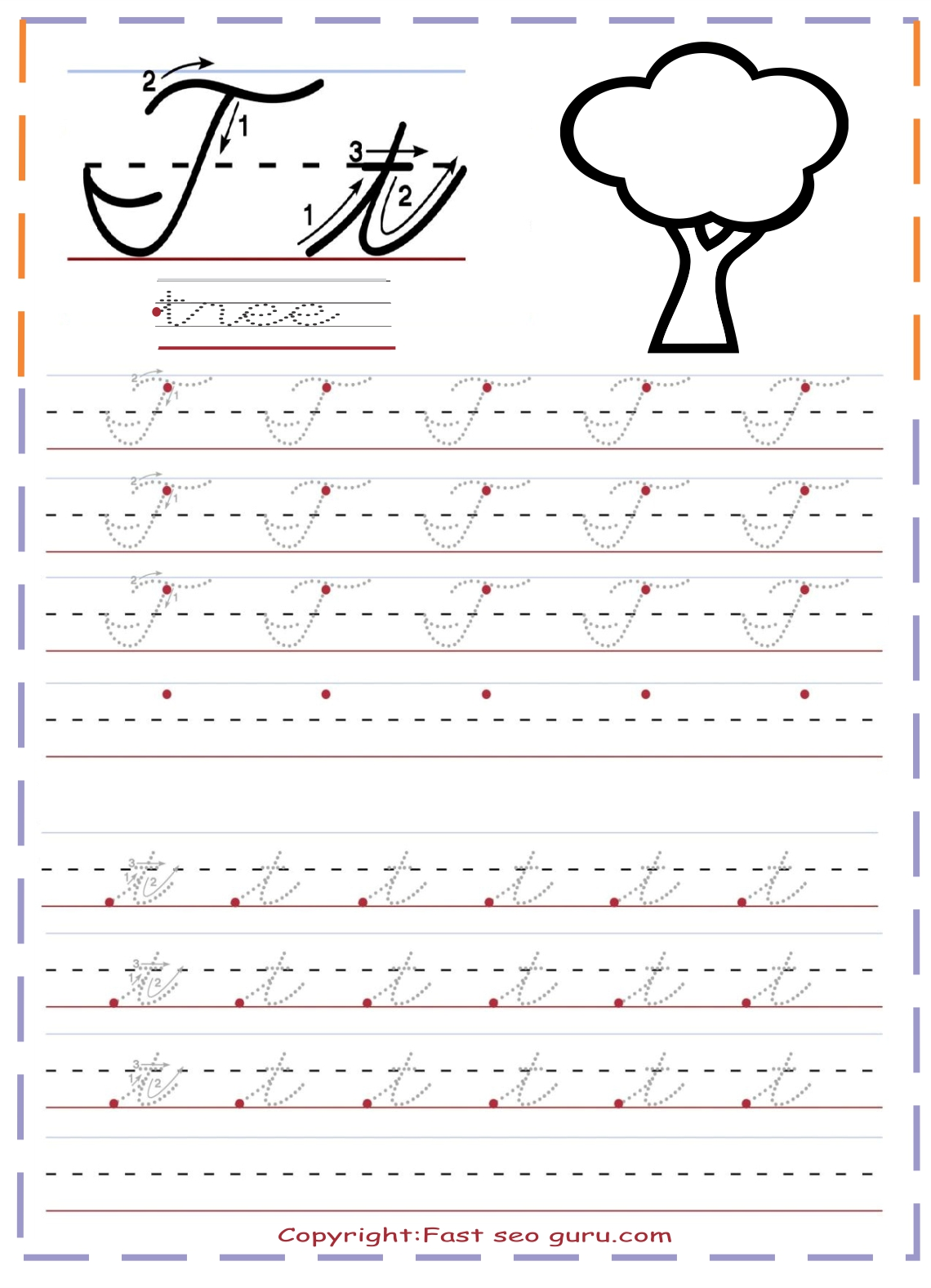 Lowercase Letter T Tracing Worksheet