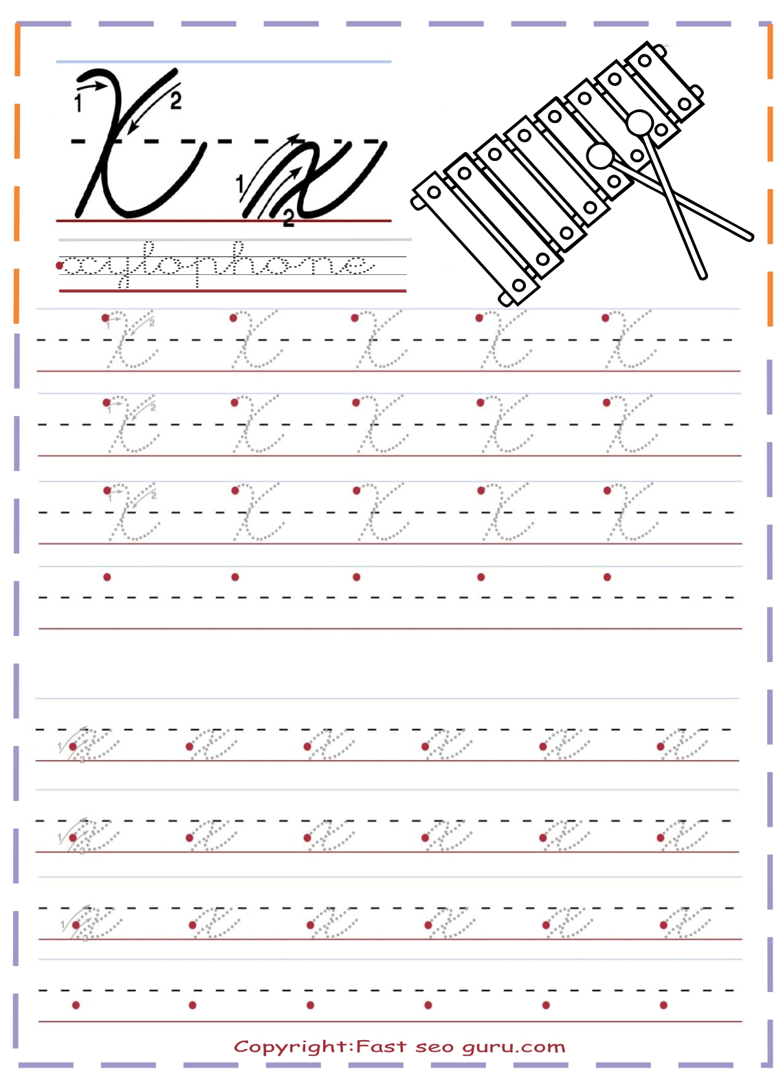 Cursive Handwriting Tracing Worksheets Letter X For Xylophone