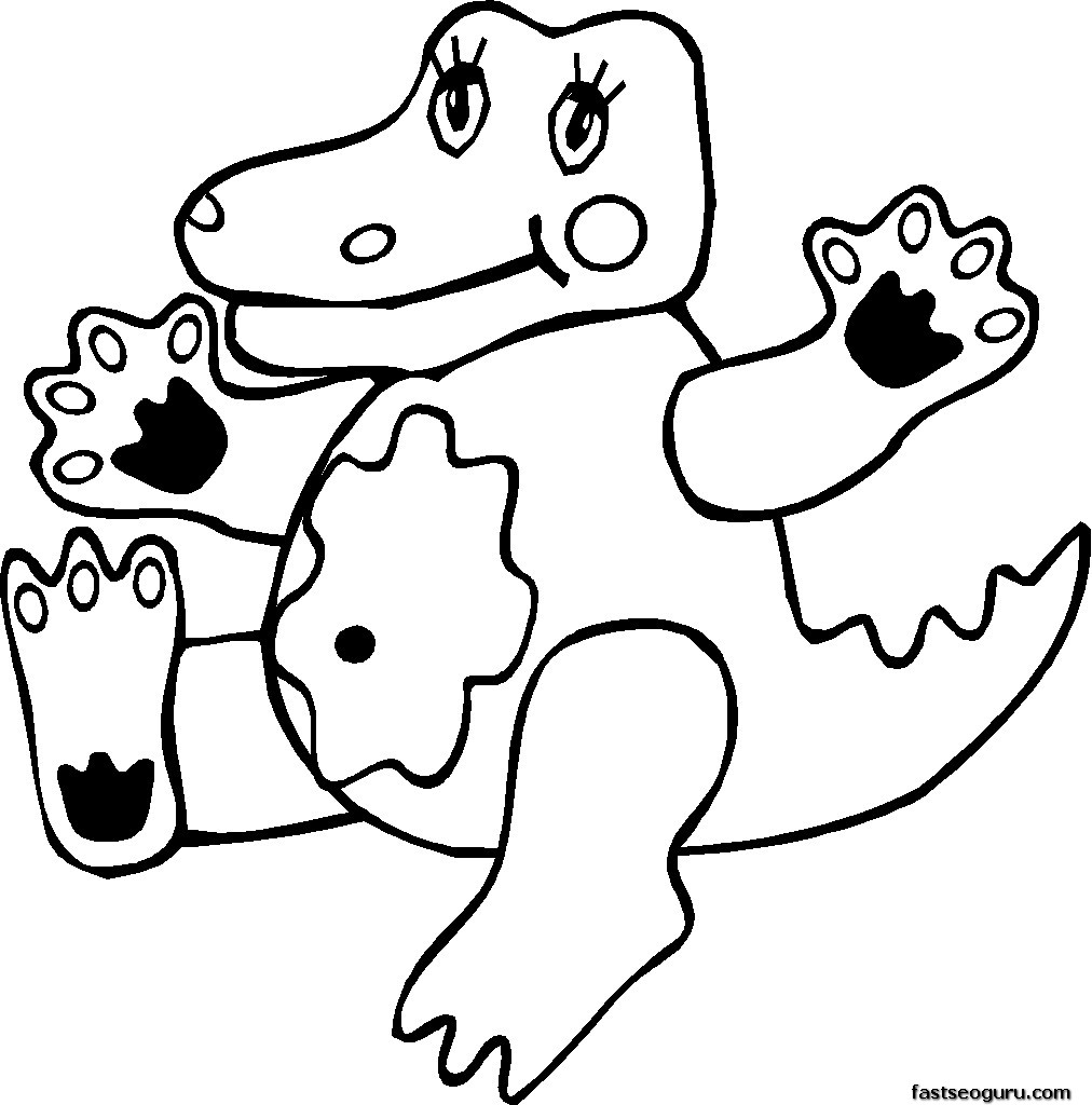 coloring pages print out of jungle crocodile kids printable coloring