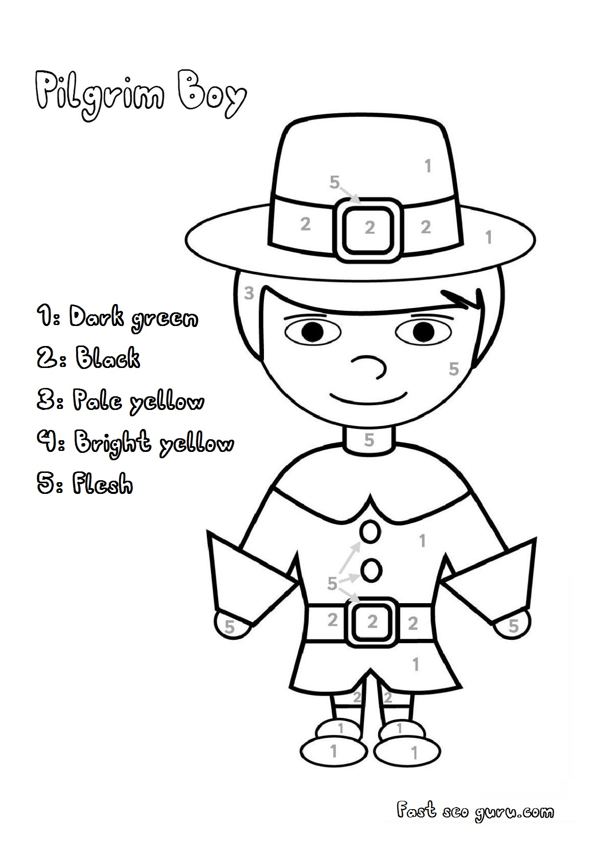Printable Thanksgiving Pilgrim Colour By Number