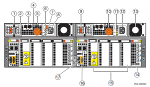 VNX5400 DPE rear view w/ BBU at position 1 and 9.