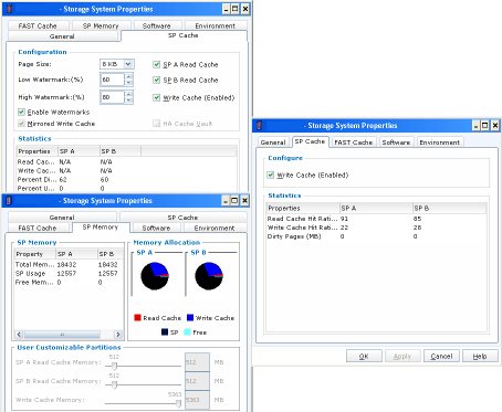 Cache management for the VNX1 on the left, VNX2 on the right.