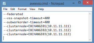 avexvss.cmd parameters