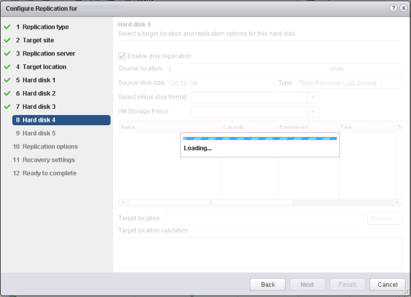 Creating a new vSphere Replication