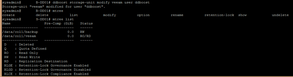 DDBoost storage unit CLI