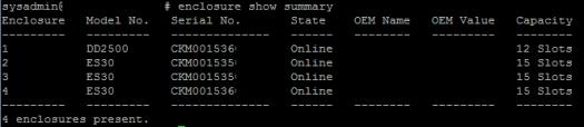data domain enclosure show summary