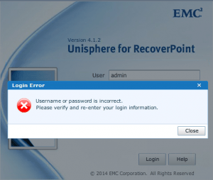RecoverPoint password incorrect - How to unlock an account - FastStorage