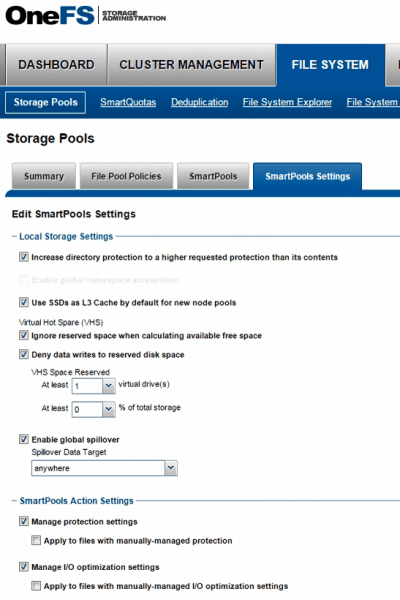 Isilon tech refresh - SmartPools settings