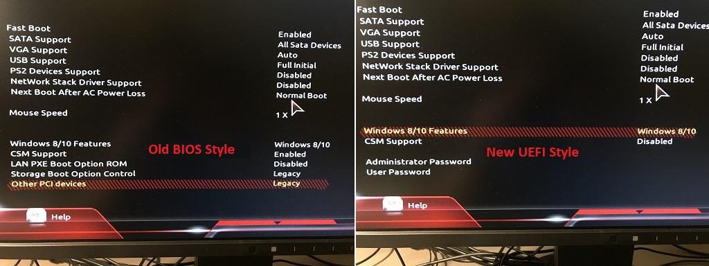Legacy BIOS vs UEFI