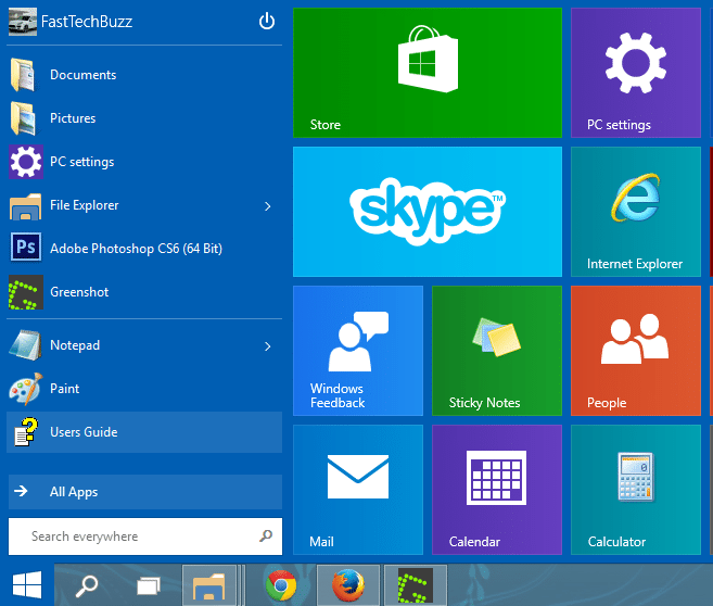 Windows 10 New Menu