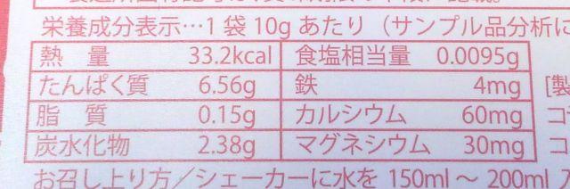 玄米プロテインmicoco栄養成分