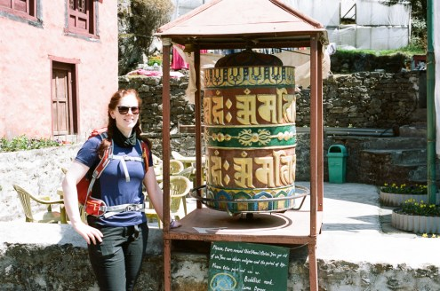 Prayer wheels, such as this can be found along the route