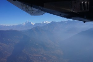 View of Himalayas from the plane window