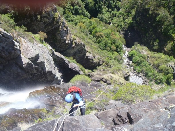 Helen on abseil one of Kanangra Main