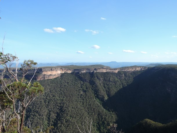 View from Spire Head towards Kanangra Walls Lookout, with Kalang Falls on the right