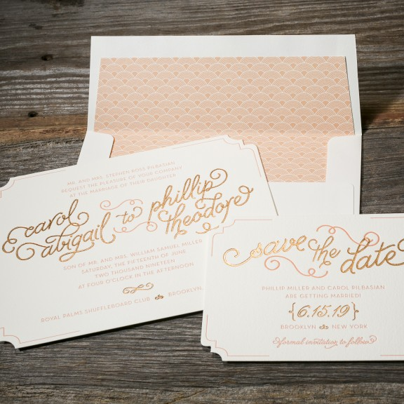 Abigail by Bella Figura, foil and letterpress whimsical typography invitation and save the date, diecut shape, peach and copper color palette, hand drawn style font and details, patterned envelope liner
