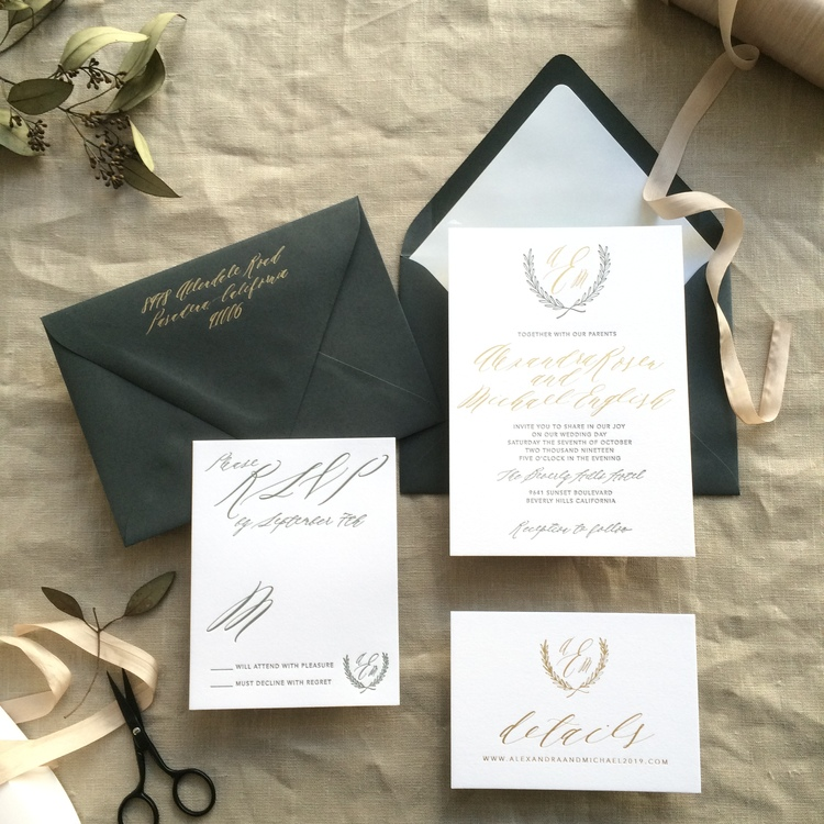 Alexandra by BTElements, Formal wedding invitation with laurel monogram, Dark gray envelopes and gold foil details, Calligraphy style script