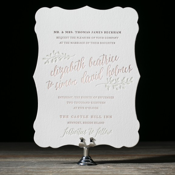 Belsay by Bella Figura, Rustic pink foil wedding invitation, calligraphy style font, leafy branch details, pink and taupe color palette, diecut shape