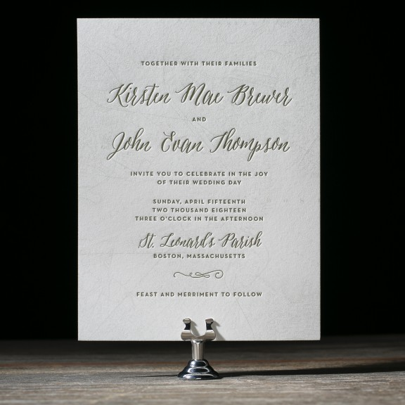 Brewer by Bella Figura, Wedding invitation with vintage map printed behind letterpress text, calligraphy style script, green and white color palette