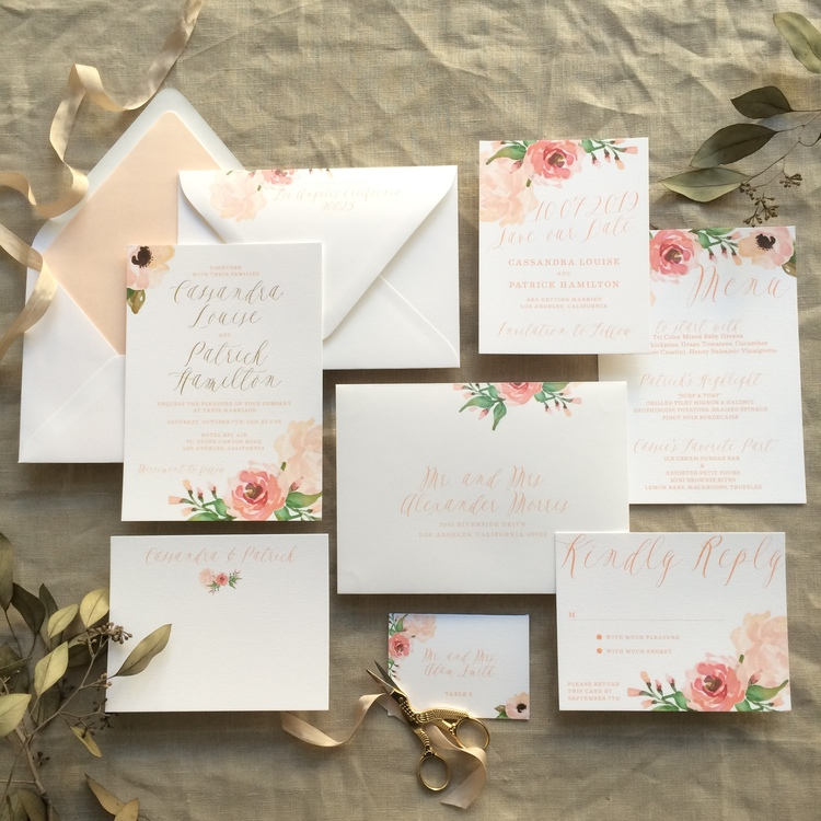 Cassandra by B.T.Elements, Watercolor floral wedding invitation, pink and peach tones with gold foil calligraphy style script, peach envelope liner