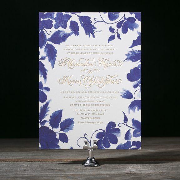 Cora by Bella Figura, watercolor floral invitation