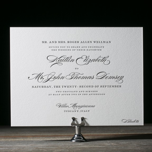 Deveril by Bella Figura, classic wedding invitation, black and white color palette, traditional fonts