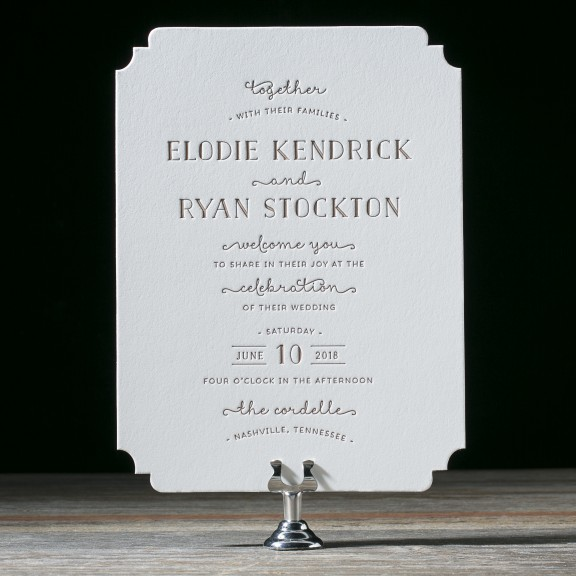 Elodie by Bella Figura, whimsical typography invitation with diecut corners