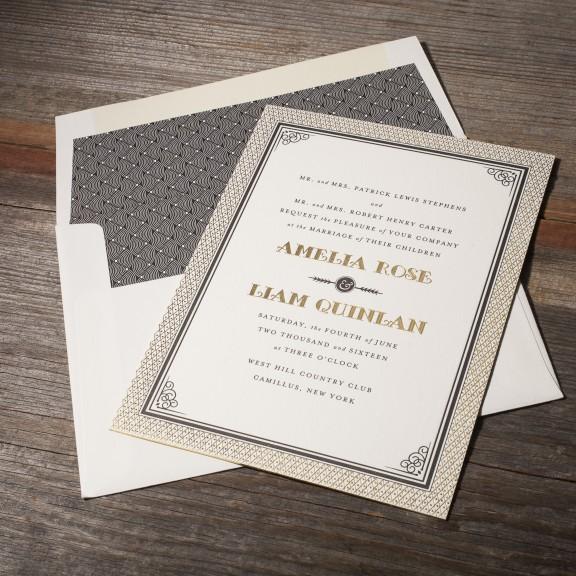 Fitzgerald by Bella Figura, deco foil and letterpress wedding invitation, gold and black color palette, decorative border and envelope liner
