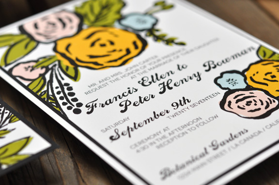 Francis by BTElements, Modern whimsical wedding invitation, flower illustrations, pink yellow blue green and black color palette, calligraphy style fonts, Layered invitation with white and black papers