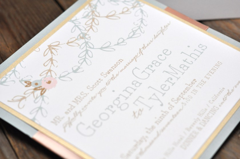 Georgina by BTE, invitation with soft, muted color palette, slate, blush and gold
