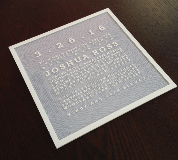 Gray and White Snakeskin Lucite Mitzvah Invitation, Modern white text with snakeskin paper backer, Clear square lucite invitation
