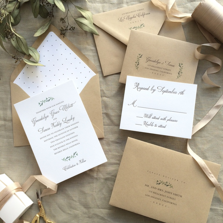 Gwendolyn by B.T.Elements, rustic invitation with leafy details and kraft paper envelopes